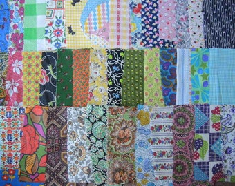 vintage 40 fabric scraps grab bag lot quilting 1G