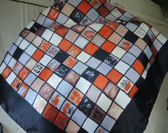 Vintage 1980s polyester scarf abstract checkerboard 28 x 29 inches