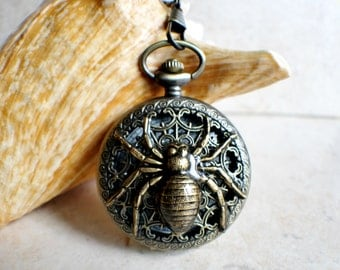 Spider pocket watch, mens pocket watch with spider mounted on front case