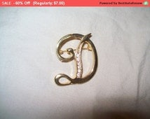 SALE 60% Off Goldtone rhinestone initial D brooch pin, initial brooch