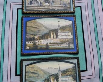 Stunning Trio of Antique French Religious Souvenir Passe Partout Glitter Highlighted Pictures-Apparition de Lourdes,Basilica at Lourdes