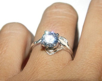 2.5 Carat Anniversary Ring, April Birthstone Ring, Sterling Silver Leaf Ring, Cubic Zirconia Ring