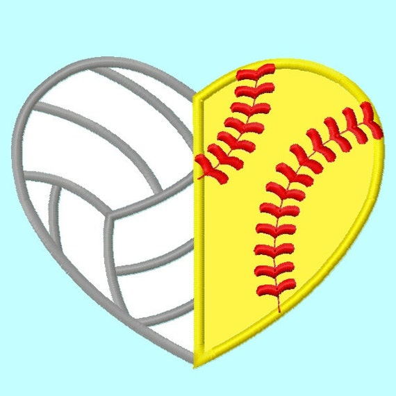 Volleyball And Softball Heart Shape Applique Embroidery Design