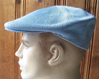 "Breathable Mesh Cap - Vintage Light Blue Men's Cabbie Hat - Man's Baby Blue Newsie Cap - Hipster Rockabilly Fashion - 23"" Band Large Size"