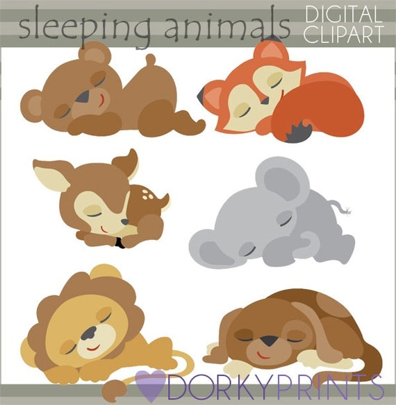 Sleeping Animals Clip Art Set Personal and Limited Commercial