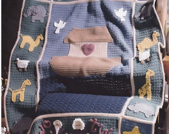 Noah's Ark Crochet Baby Blanket Afghan Pattern - Animals Boat, Childs Cover, Great Gift!