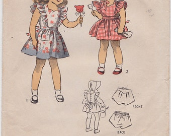 RARE FF 1944 Girl's Pinafore Dress, Bonnet & Panties - Du Barry 5852 - 1940's Vintage Sewing Pattern, Child's Size 6, Breast 24