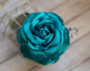 Flower Hair Clip. Turquoise Hair Accessory, Satin Wedding Hair Flower,  Blue Headpiece, Turquoise Bridal Flower, Aqua Hair Flower,