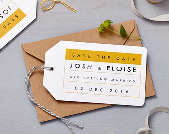 Retro Schoolhouse Mustard Save The Date Tag