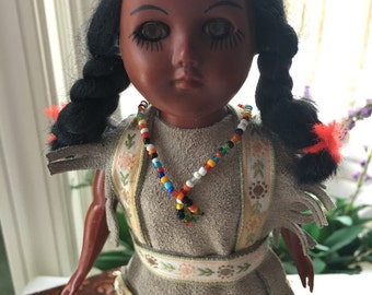 Vintage Native American Doll Rare Original Suede Clothing and Beads O/C Eyes 11 inch