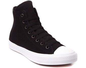 Converse High Top Black Chuck Taylor II Monochromatic Canvas Custom Bling Kicks w/ Swarovski Crystal Rhinestone Jewels All Star Sneaker Shoe