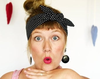 Rockabilly Headband - black with white polkadots. Retro style. Pinup. Vintage style. Rosie Wrap. Dolly Bow. Head bands. Polka dot accessory.
