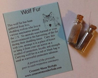 2 WOLF FUR Vials with cork top for Protection, Native American, Spells, Wicca
