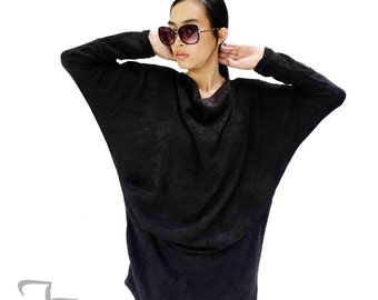 NO.182 Black Knitted Batwing Sleeves Sweater, Cowl Neck Tunic, Women's Sweater