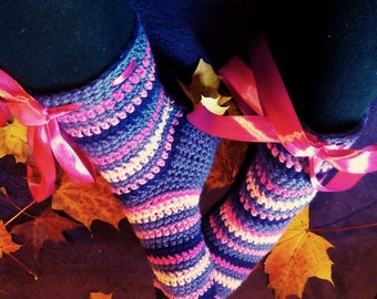 Colorful socks, crochet women's socks