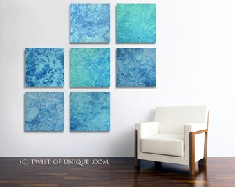 ORIGINAL Abstract Painting / Original 7 set ( 15 x 15 Inch) / Ice abstract wall art / blue, white, ocean, water, sea