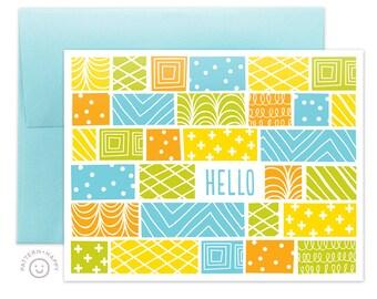 Block Hello Greeting Card