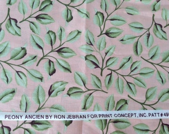 DESTASH Fabric -24 inches x WOF Peony Ancien Green Leaves on Peach Background Cotton Quilting Fabric