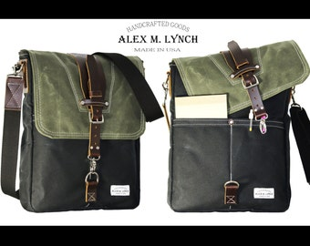 Large Waxed Canvas Messenger bag - vertical bag - handmade - BLACK and MILITARY GREEN + leather accents. 010034.1
