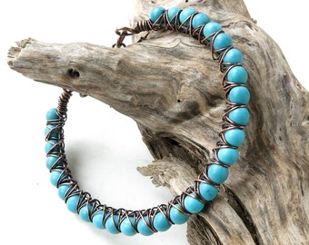 Turquoise blue bracelet - stone & copper wire wrapped bangle
