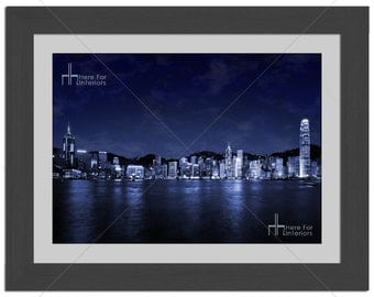 Hong Kong City Light Skyline Cityscape Photographic Print - Various Sizes - Gift Idea