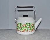 Strawberry Tea Pot ~ Vintage Tea Kettle ~ Enamel Tea Pot ~ Enamel Kettle ~ White Tea Pot ~ Epsteam