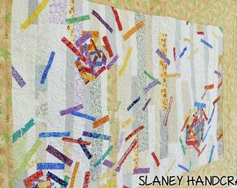 """Wall hanging art quilt, textile art, fiber art, """"Spring Storm"""""""