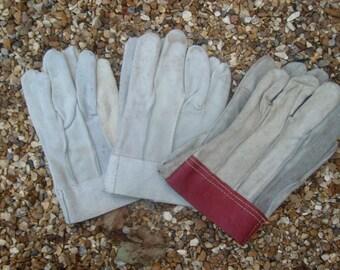 Vintage suede garden gloves