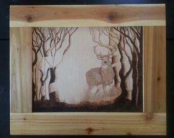 Woodburn art Stag in shadow BURNED on Birch wood pyrography wall art