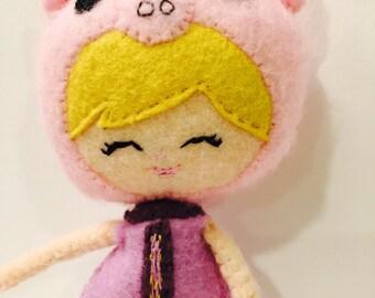 Pink Plush Piggie Girl. Felt Doll.