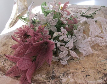 Antique French beaded flower bouquet romantic vintage translucent glass purple white beads w/ leaf stems home decor anita spero design