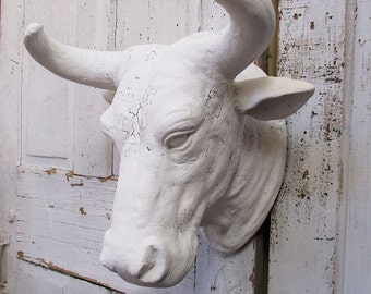 Large albino bull head wall mount faux taxidermy French Nordic white hand painted distressed wall hanging home decor anita spero design