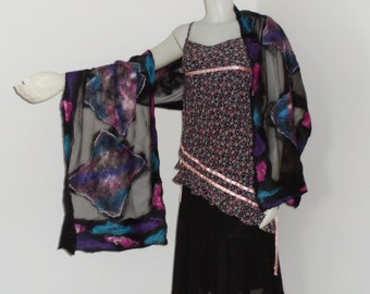 Nuno Felted Scarf  Black Sheer Silk with Colorful Silk Hankies