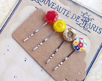Antique Jewellery, Bright Antique Hair Accessories, Hair grips, Children's Fun Hair Accessory, Girls Bobby Pin Set Made From Vintage Buttons