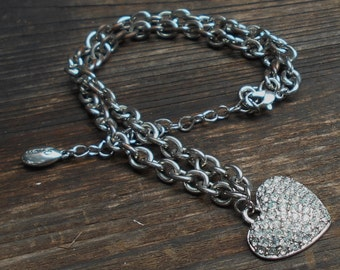 Vintage necklace by SVEN with pendant rhinestone silver heart on silvertone chunky chain necklace Free USA Shipping