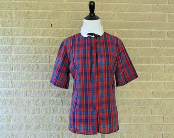 Vintage Shirt | 1980s | Red & Blue Plaid Button-Up | Large