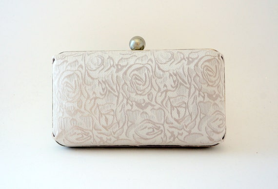 Romantic Ivory Rose Bridal Minaudiere Box Clutch - Evening/Bridesmaid/Prom - Includes Crossbody Chain - Ready to Ship