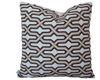 Embroidered China Seas Gorrivan Fretwork Pillow Cover in Brown and Taupe
