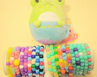 20 Sweet Single Kandi Bracelets with Froggy Teacup Animal Toy