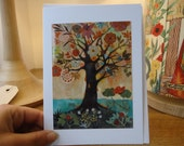 "AMBER TREE / Greeting Card with envelope (5x7"") / tree of life print / xmas cards / christmas cards"