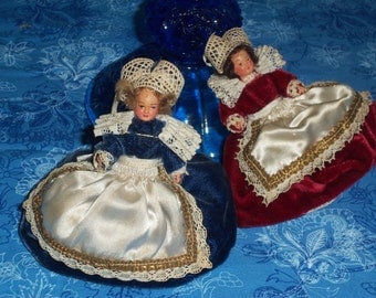Vintage Miniature Dolls, Dolls Made in England, Celluloid Dolls,Doll House Dolls, Set of 2 Mini Dolls, Made in England