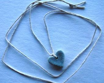 Pale Blue Heart Necklace Multi Glazed on Hemp Cord One of a Kind On Sale