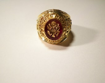 1 Gold Plated Marine Ring with Army Stone