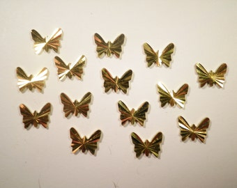 14 Brass Diamond Cut Butterflys