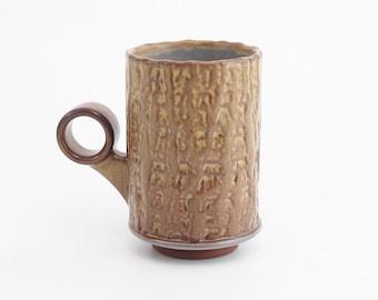 Hand built Palm bark textured coffee mug. Red stoneware mug with muted green glaze. coffee cup. Tea cup. ceramic. pottery
