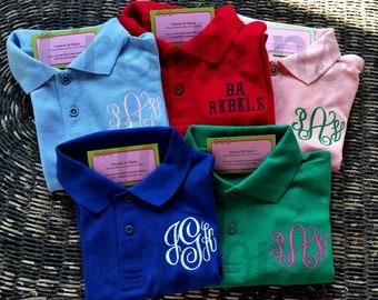 Girls Monogrammed Polo Shirt, Girls Polo Shirt, Girls Monogrammed Shirt, Monogrammed Polo Shirt, Girls Shirt, Girls Uniform Shirt,