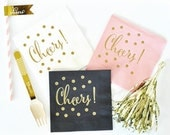 Cheers Napkins, Party Napkin, Cocktail Napkins, Bridal Shower Napkins - Set of 25