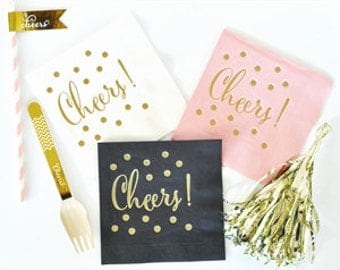 Cheers Napkins, Party Napkin, Cocktail Napkins, Bridal Shower Napkins   Set  Of 25
