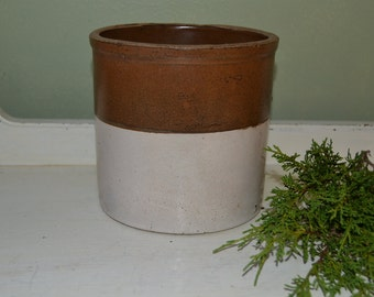 Antique Brown Glazed Crock Pot Farmhouse Decor