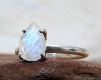 SUMMER SALE - Rainbow moonstone ring,silver ring,stack ring,engraved ring,mom ring,teardrop ring,love ring,June birthstone ring